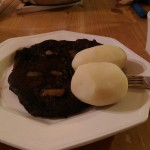 Blood pancakes and potatoes